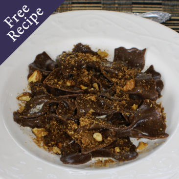 Goodness Me Chocolate Farfalle with Walnut Crumble