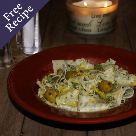 Goodness Me Gluten Free Pappardelle with Lemon, Olives & Thyme