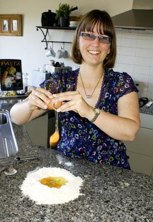 Vanessa from Goodness Me Gluten Free making Pasta