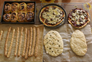 Chelsea buns, pizza, grissini, and focaccia y Goodness Me Gluten Free