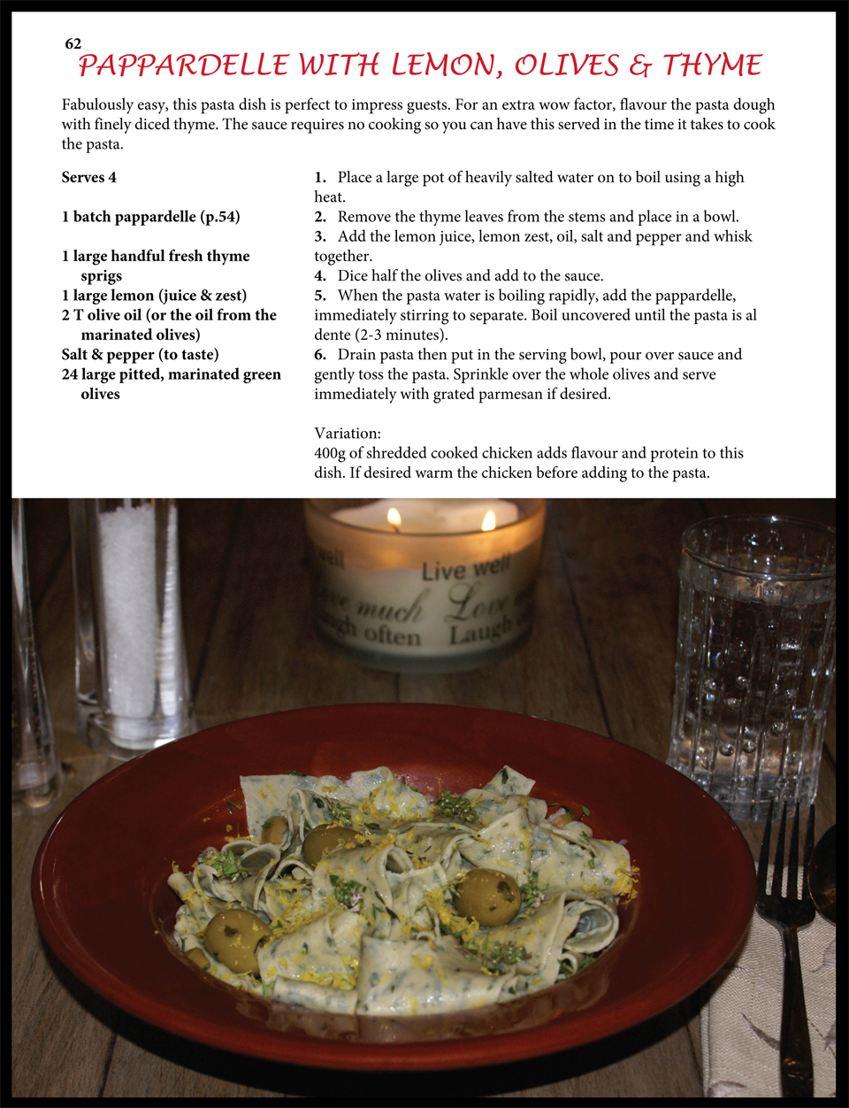 Sample Recipe for Pasta Page